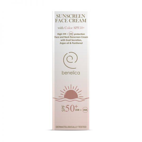 Benelica Sunscreen Face Cream 50SPF with Color Outer ENG
